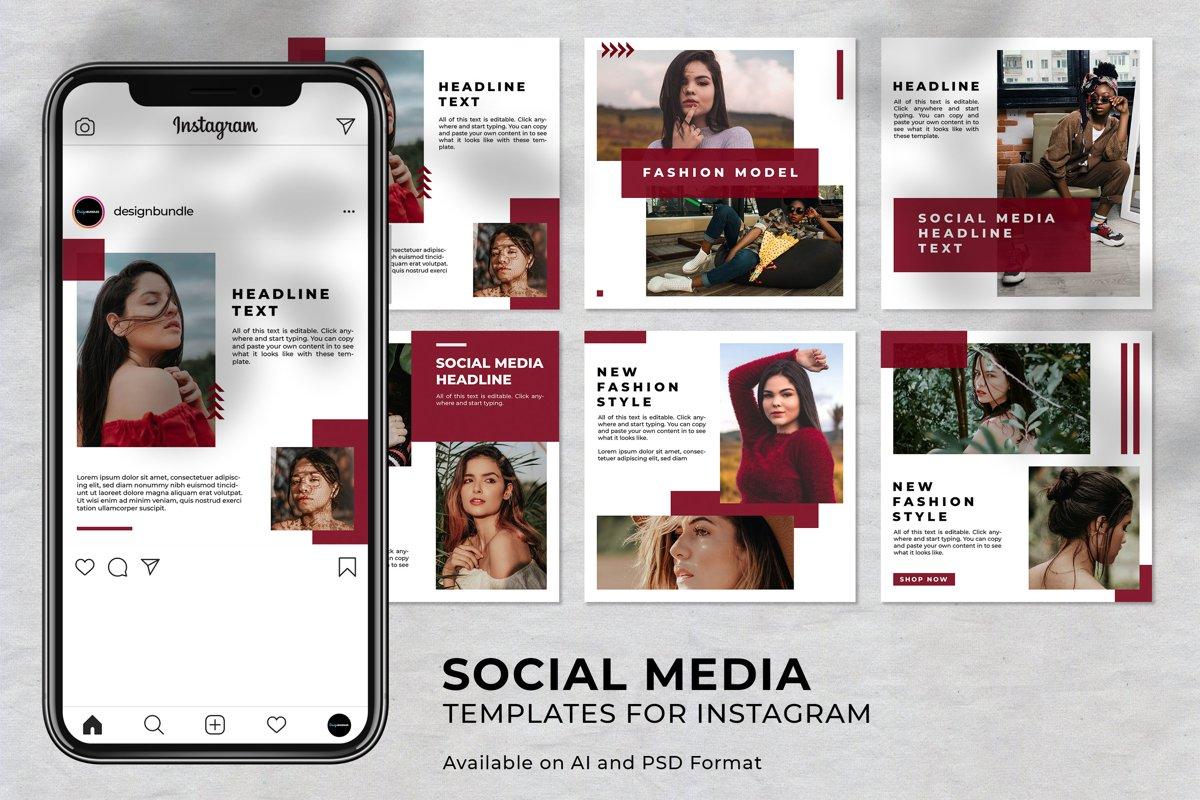 Girl Fashion Instagram Social Media Template example image 1