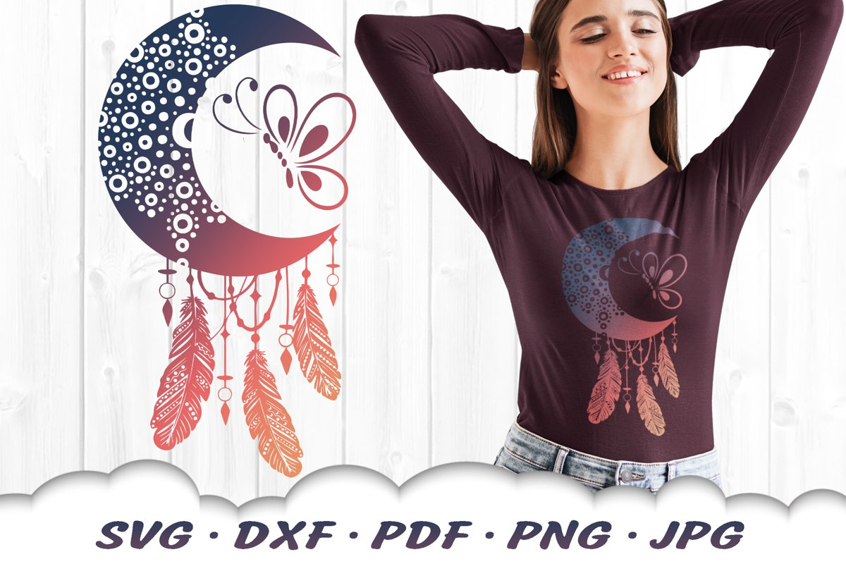 Dotted Mandala Dreamcatcher Butterfly SVG DXF Cut Files example image 1