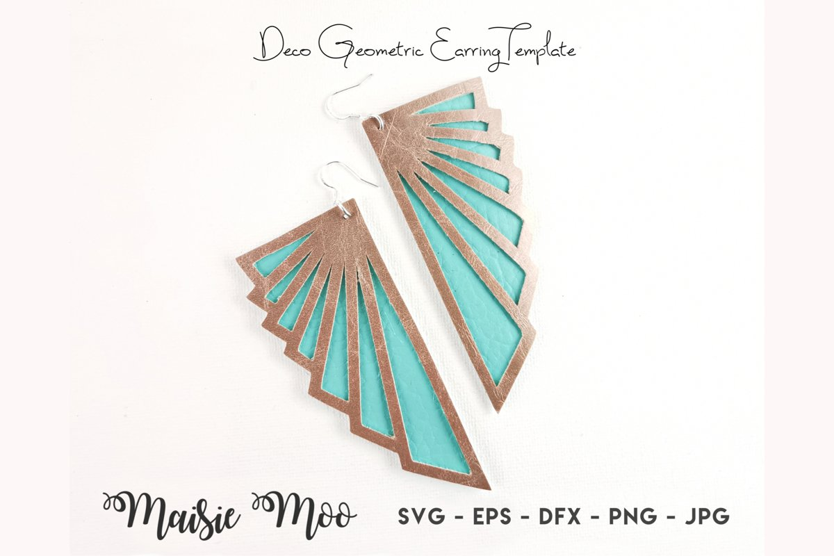 Deco Earring Templates   Geometric Earring SVG example image 1