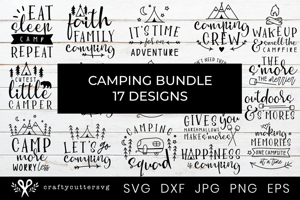 Camping Bundle 17 Designs Campfire Camper Camp Tent Clipart example image 1
