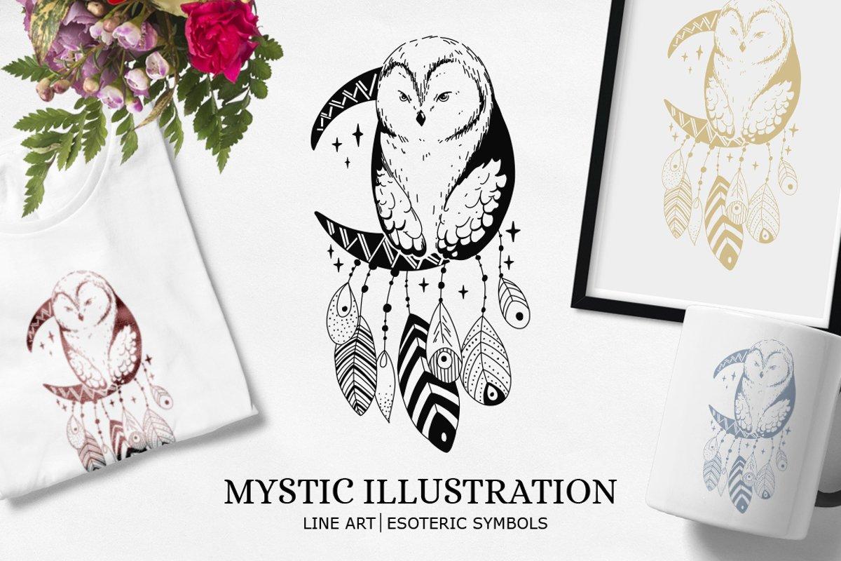Dream catcher   Owl illustration   Line art example image 1