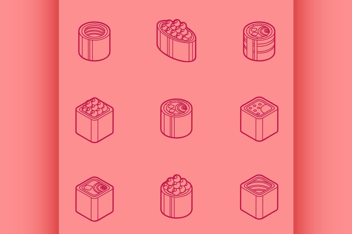 Sushi flat outline isomeric icons example image 1