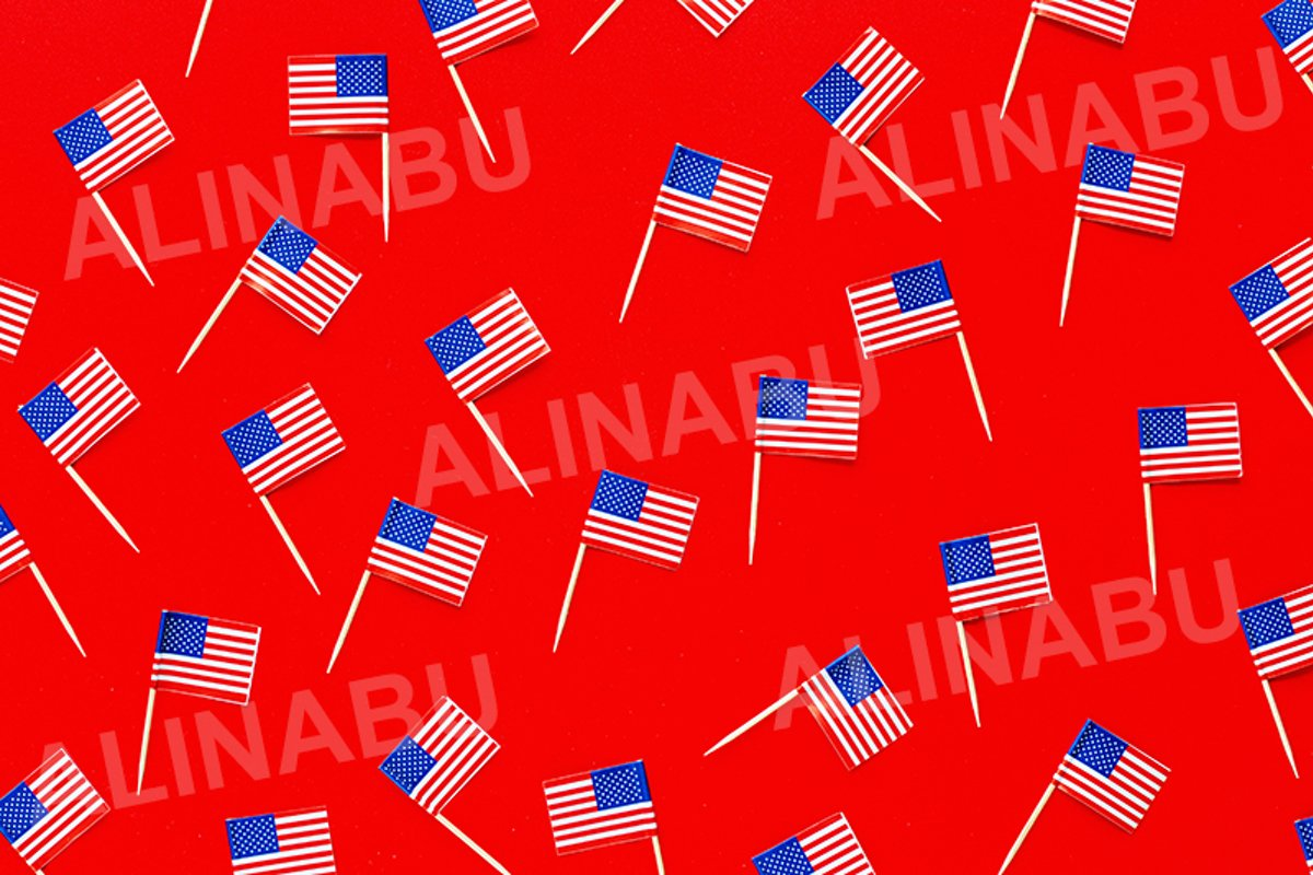 July 4th. USA flags on red background example image 1
