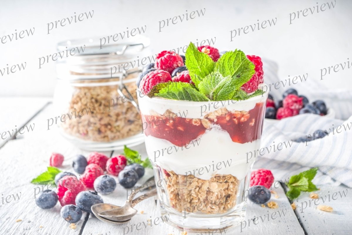 Yogurt parfafait with granola and berries example image 1