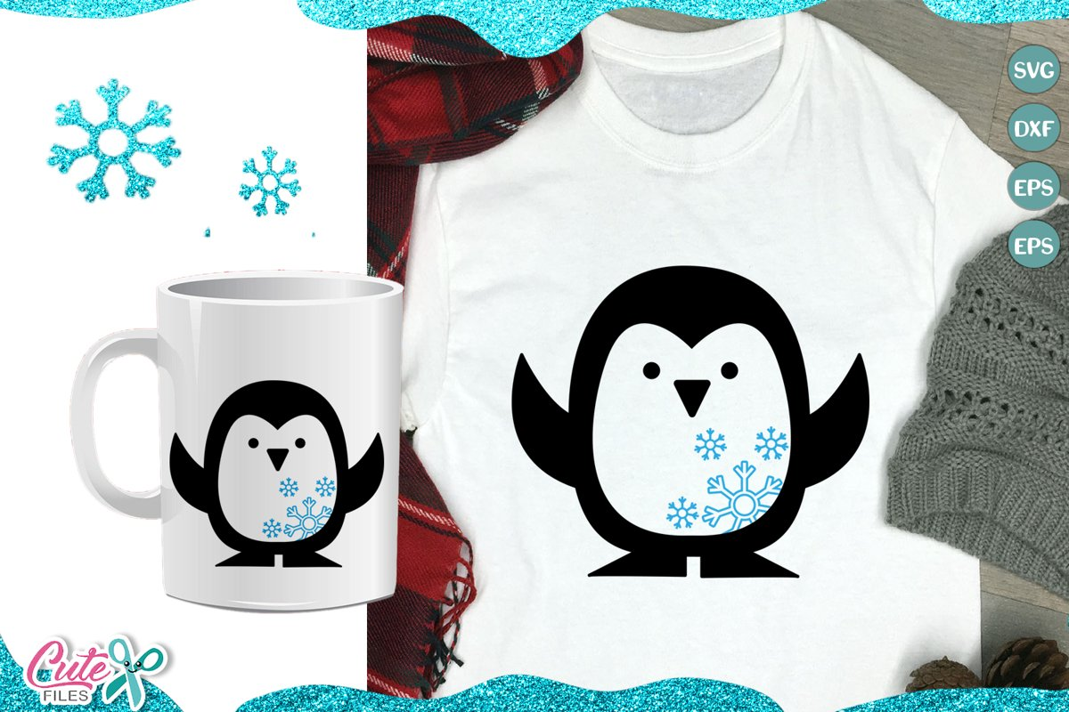 Penguin and Snowflake, winter SVG cut file for crafters example image 1