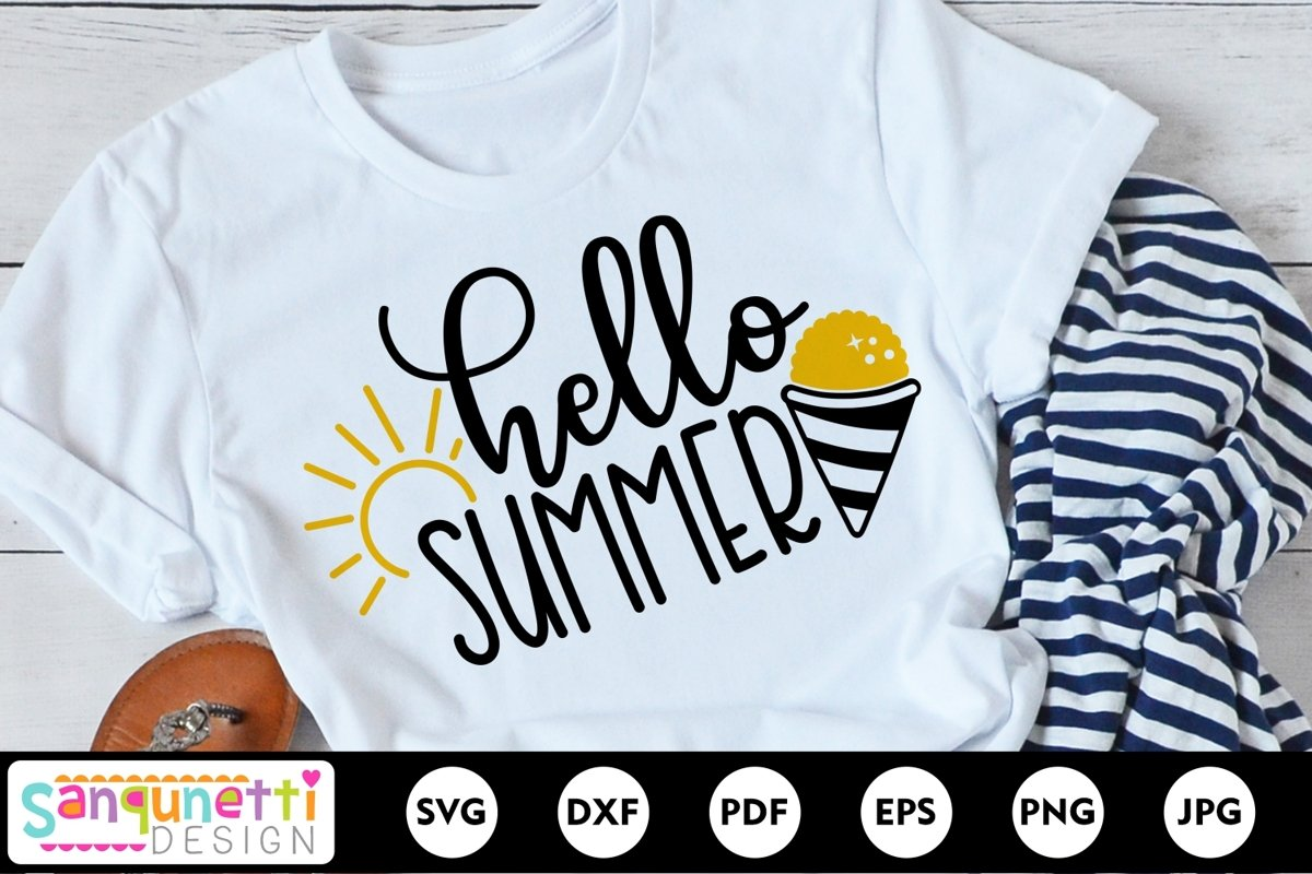 Hello Summer SVG, snow cone svg, summertime svg example image 1