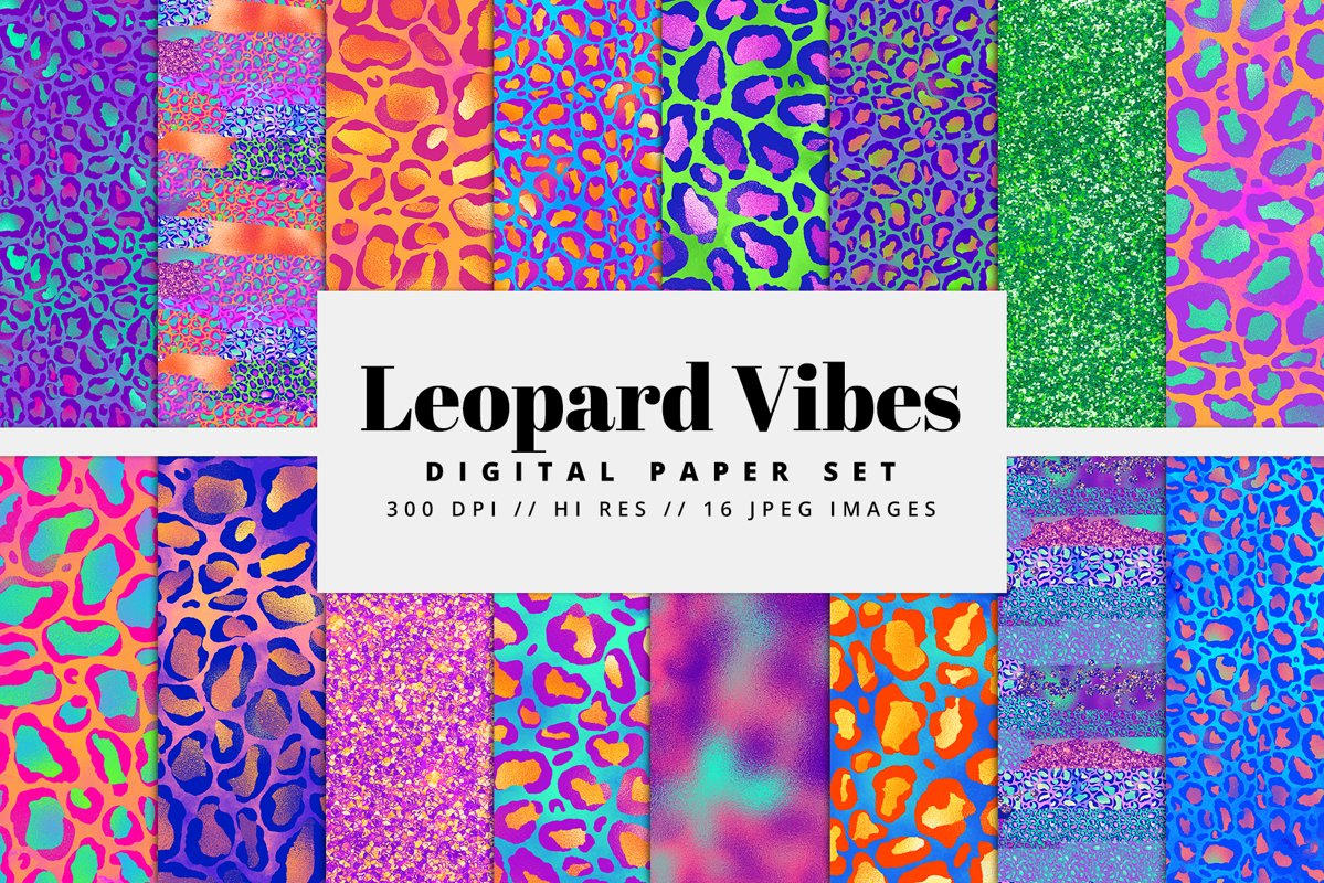 Leopard Vibes Digital Paper Pack example image 1