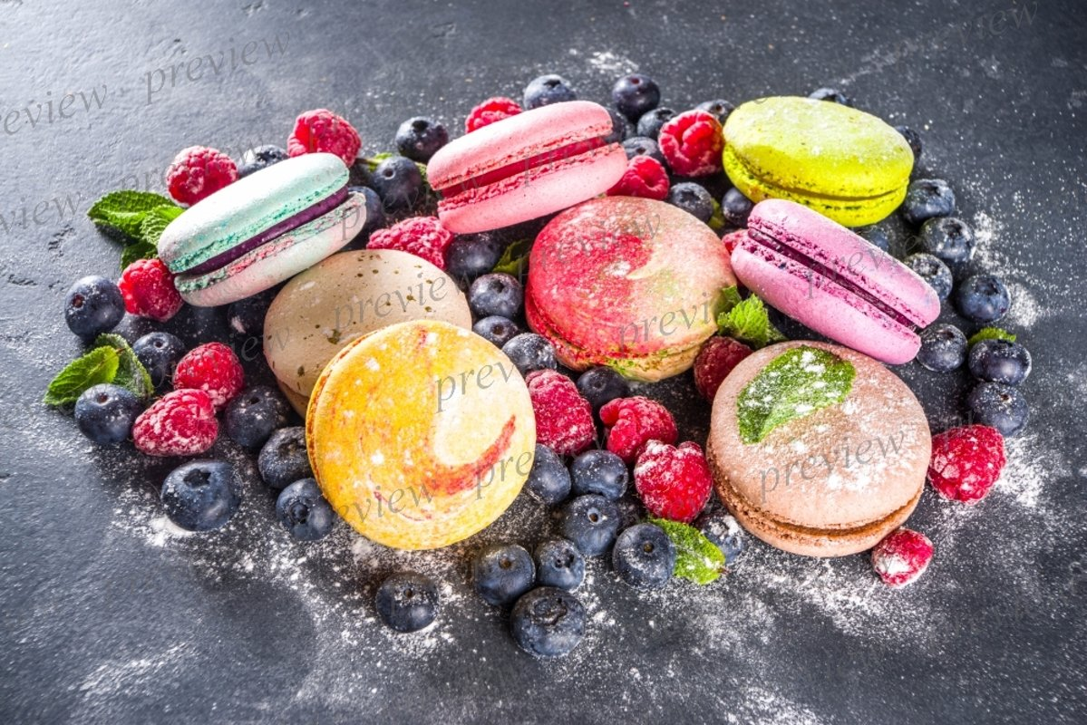 Colorful french macaron dessert example image 1