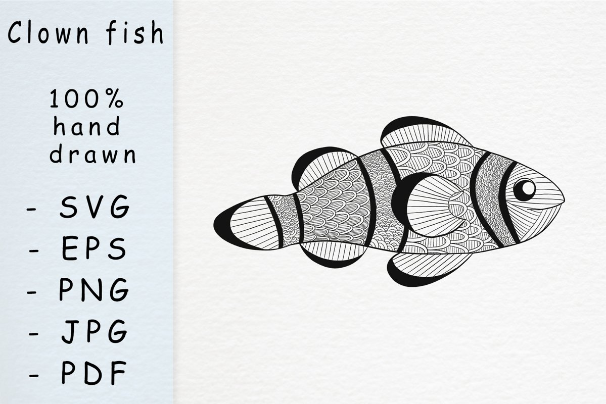 Hand drawn fish with patterns example image 1