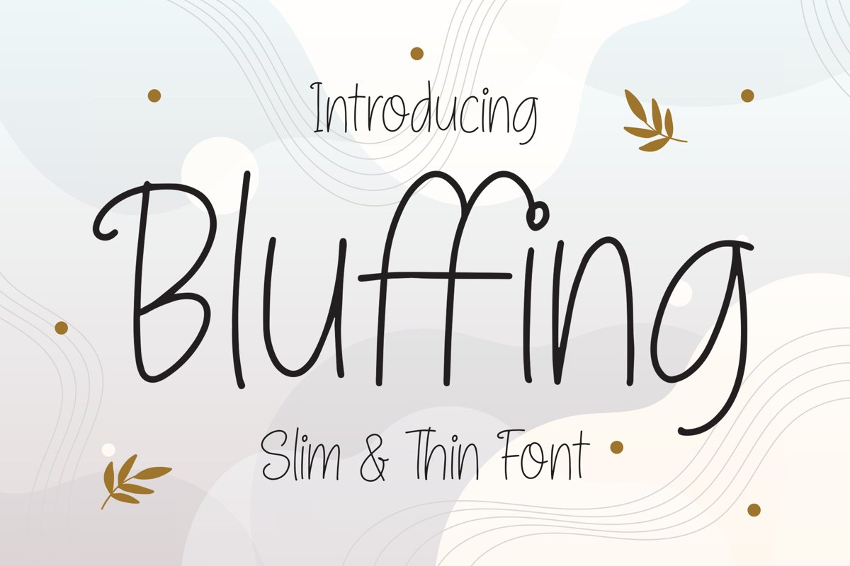 Bluffing - Slim & Thin Font example image 1