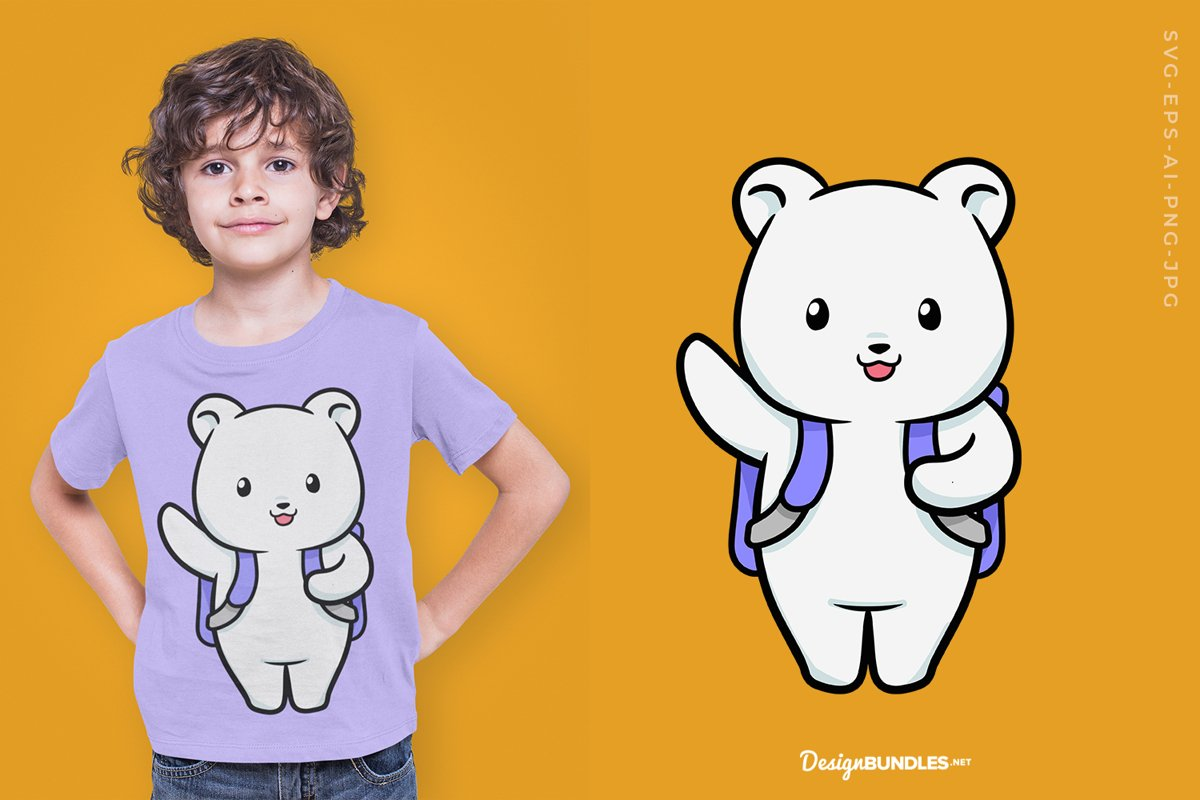 Cute bear with backpack T-Shirt Design example image 1