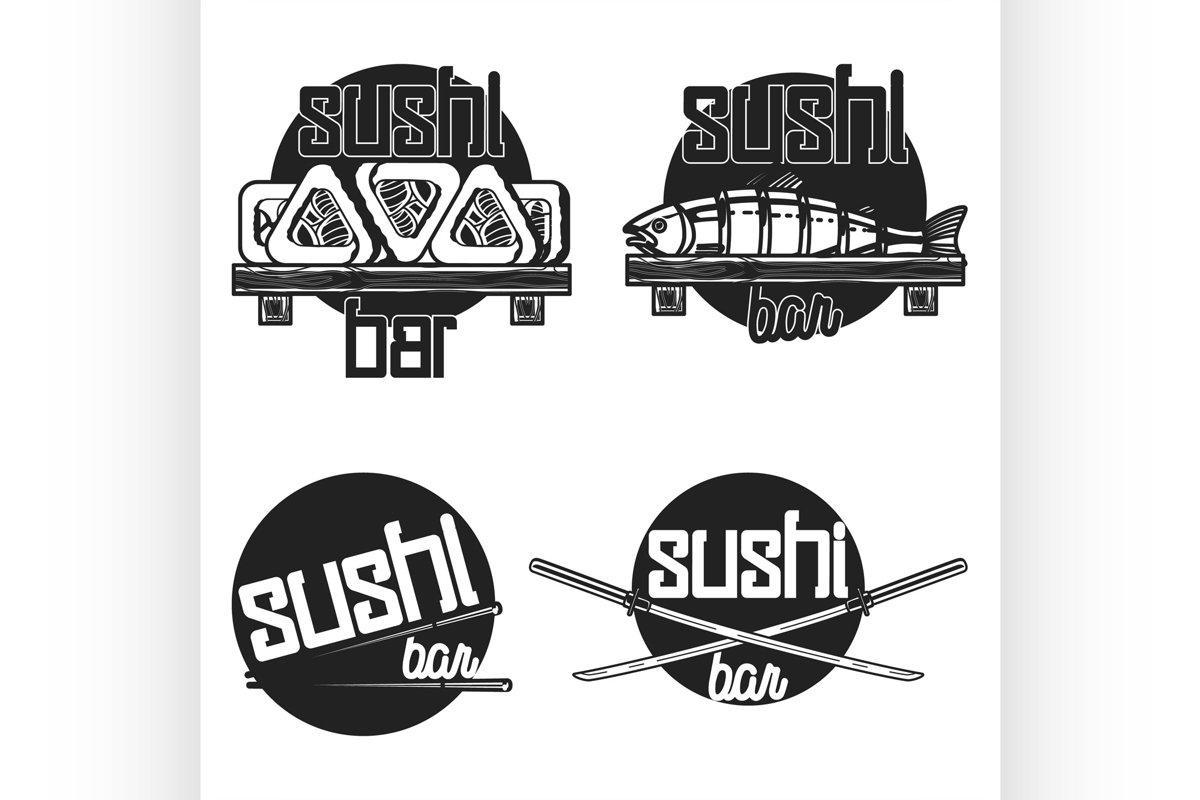 Vintage sushi bar emblems example image 1