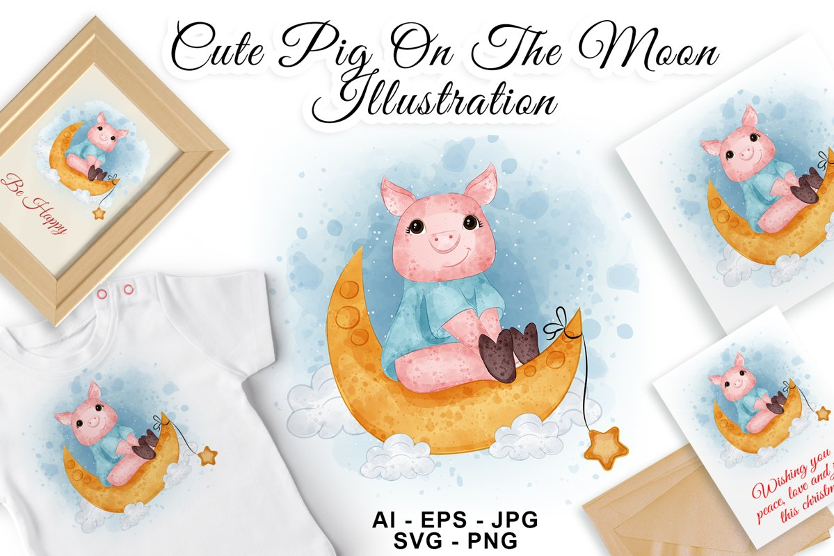 Cute pig on the moon watercolor illustration example image 1