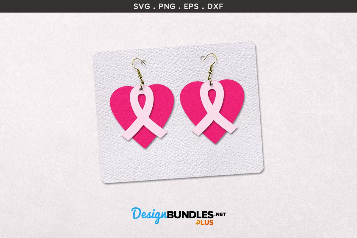 Awareness Ribbon with Heart | Earrings Template example image 1