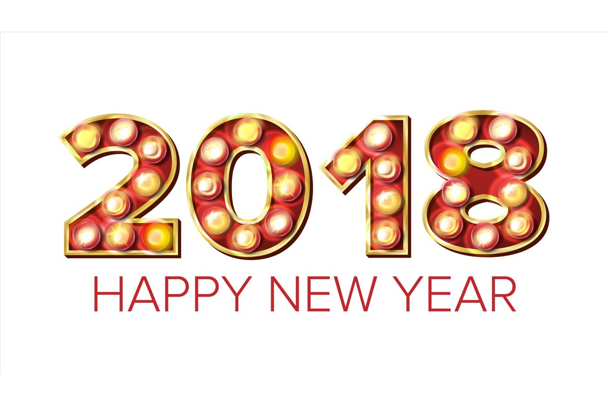 2018 Happy New Year Vector. Background Decoration. Greeting example image 1