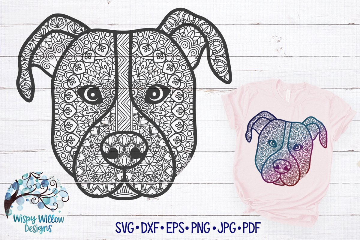 Zentangle Pitbull SVG | Dog Mandala SVG Cut File example image 1