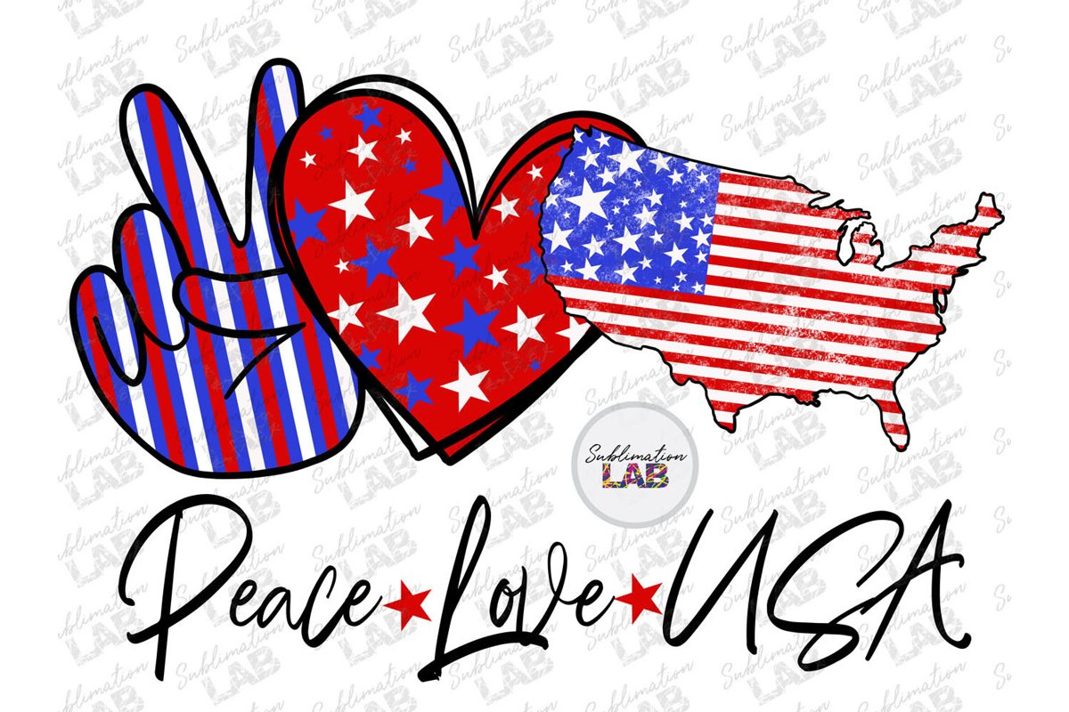 Peace Love USA Sublimation File PNG Patriotic Tshirt Design example image 1