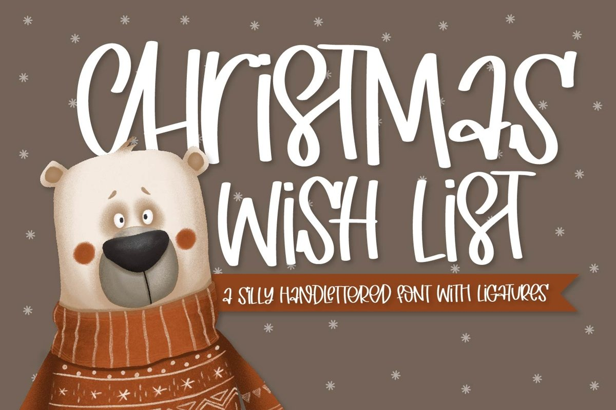 Christmas Wish List - A Hand Lettered Font With Ligatures! example image 1