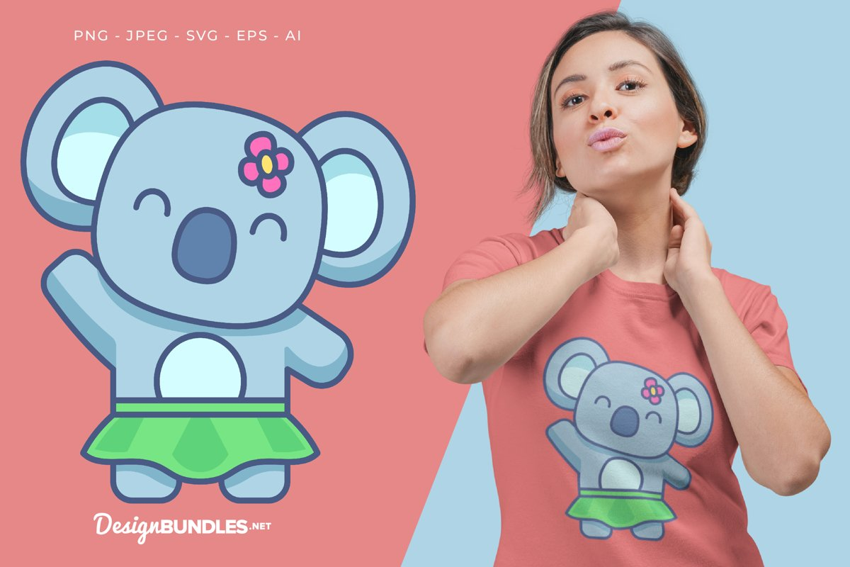 Pretty Baby Koala Vector Illustration For T-Shirt Design example image 1