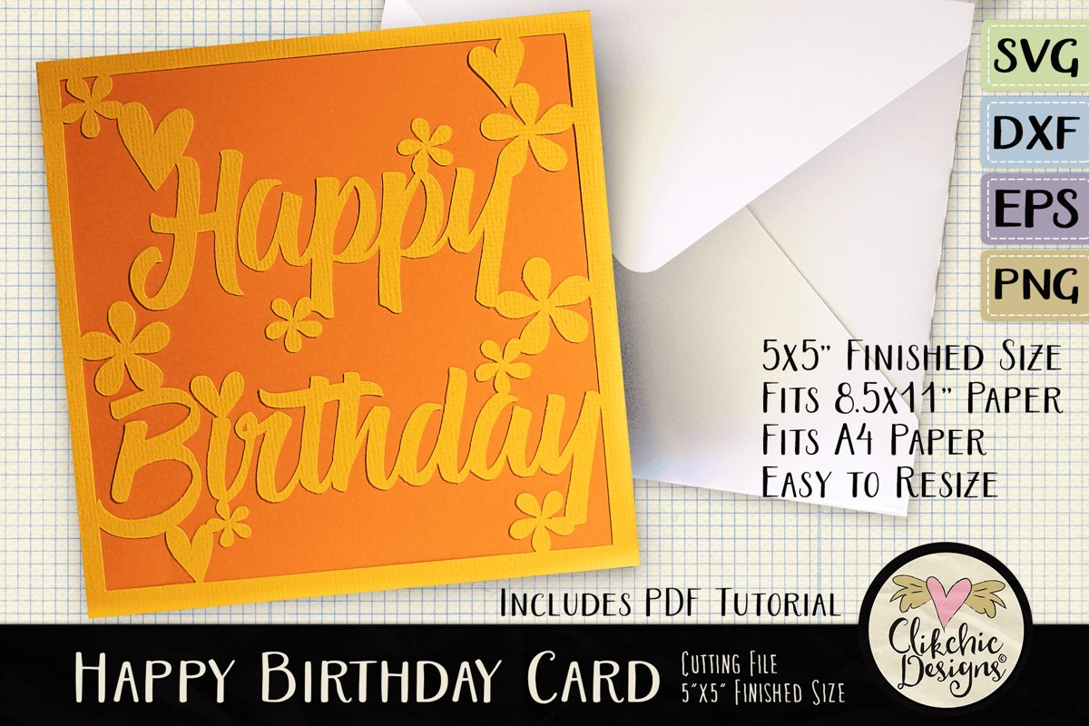 Floral Happy Birthday Card SVG - Birthday Card Cutting File example image 1