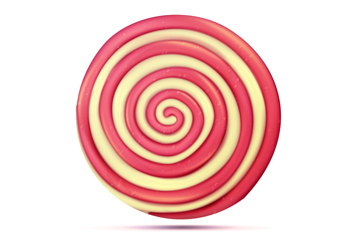 Classic Lollipop Isolated Vector. Round Red example image 1
