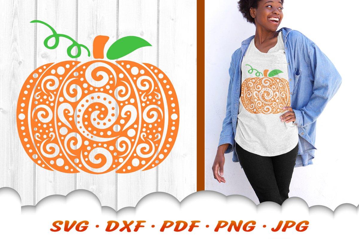 Zentangle Pumpkin SVG DXF Cut Files Fall Autumn example image 1