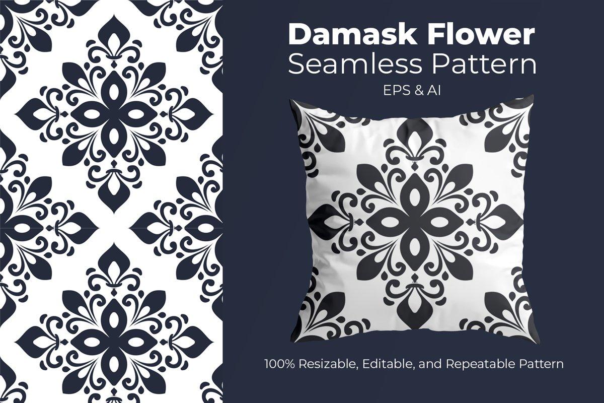 Damask Flower - Seamless Pattern example image 1