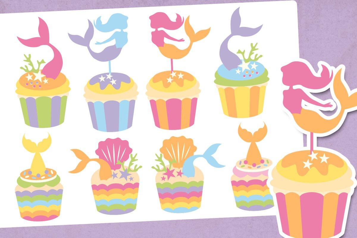 Mermaid cupcake illustrations clip art example image 1
