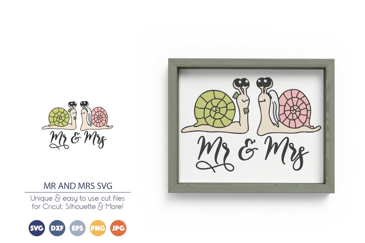 Mr and Mrs | Snails SVG Wedding | Love SVG example image 1