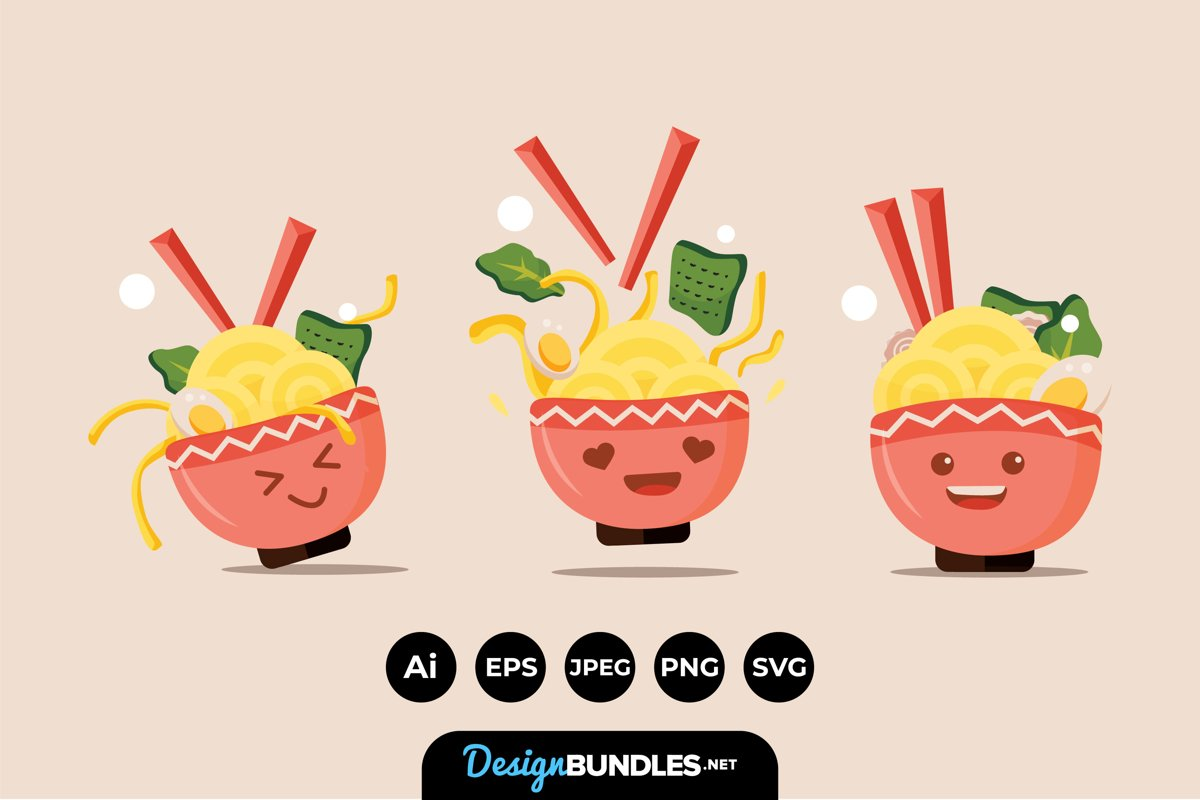 Cute Happy Ramen Bowl Characters example image 1