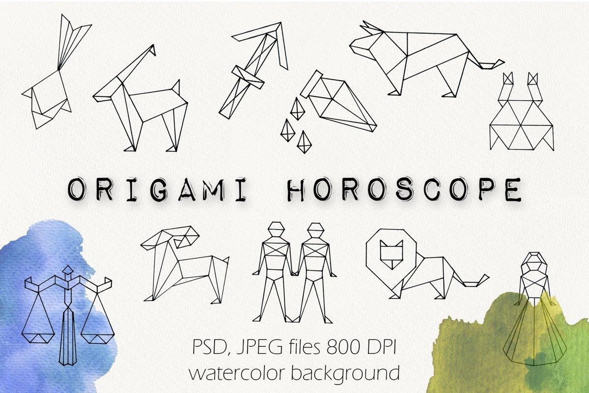 """Origami horoscope"" Watercolor set example image 1"