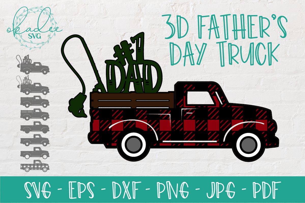 3D Father's Day SVG, Antique Truck SVG, Number One Dad SVG example image 1