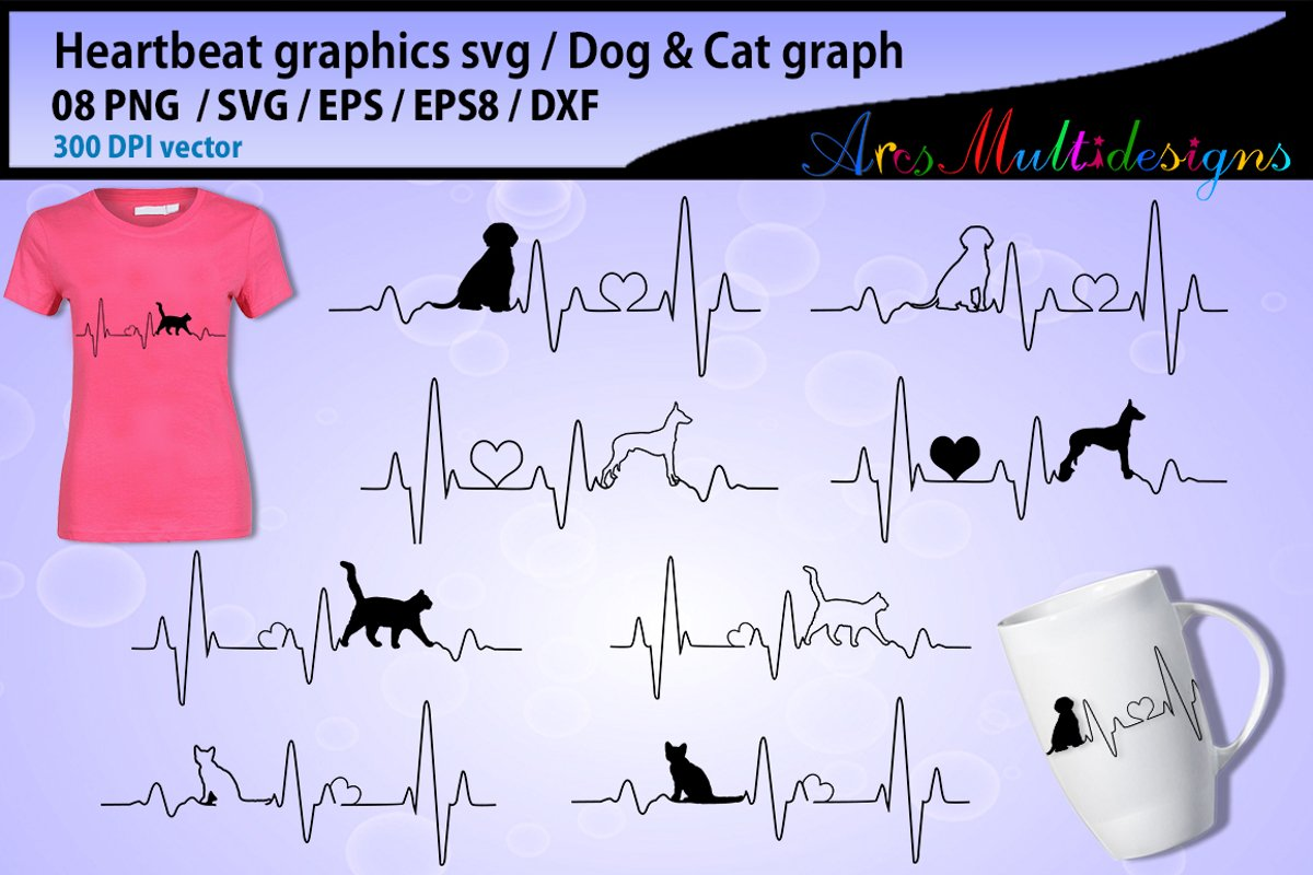 heartbeat graphics and illustration / heartbeat graph SVG / beats svg vector / dog heart beat svg / cat heart beat svg example image 1