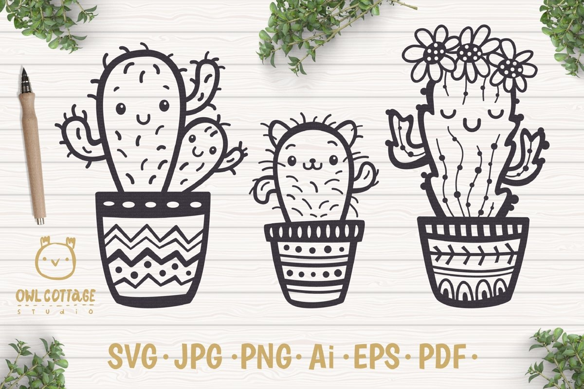 Cute Cacti mini SVG Bundle , I love Cacti cut file example image 1