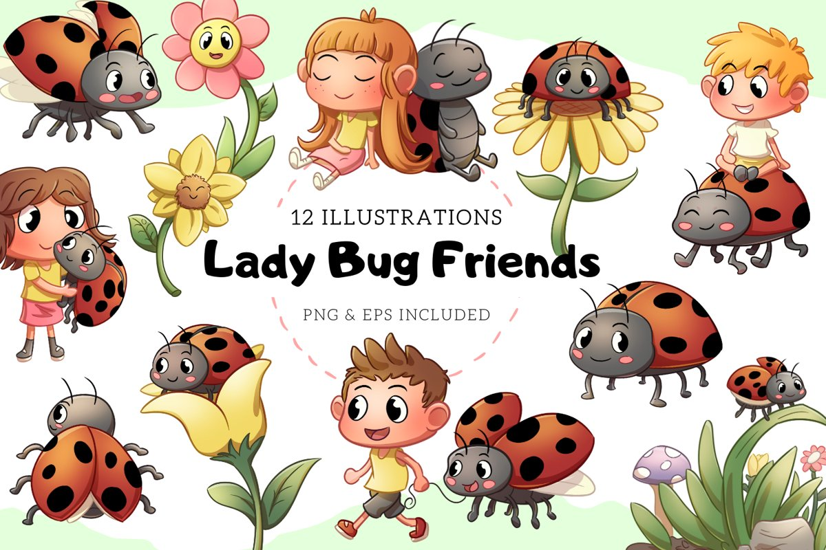 Lady Bug Friends Cute Illustrations example image 1