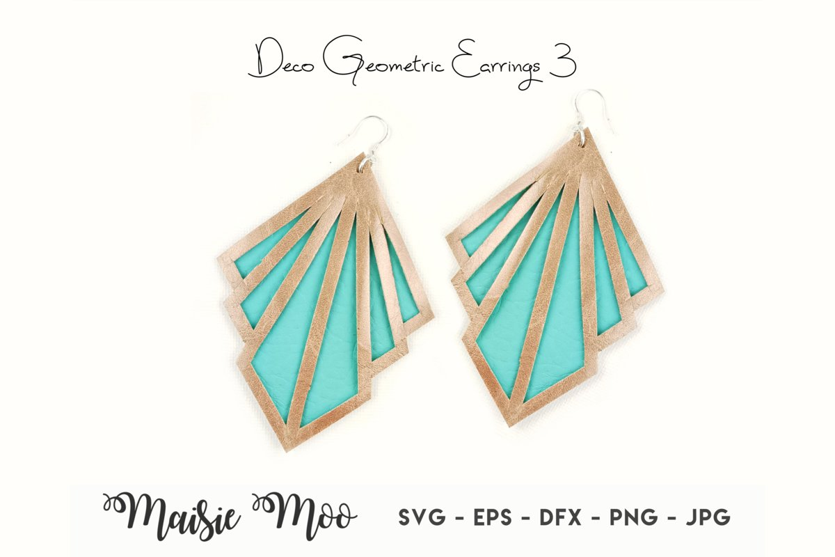 Geometric Earring Templates | Vintage Earring SVG example image 1