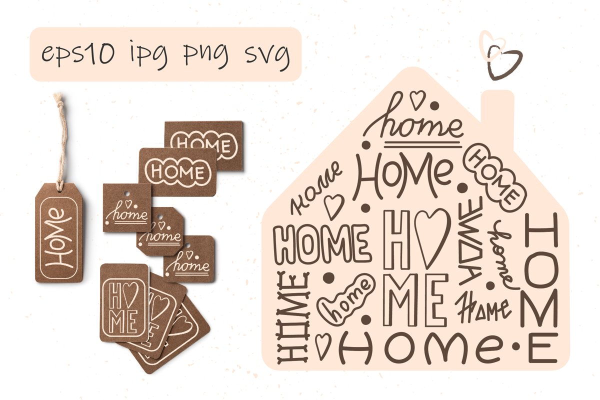 """Hand lettering """"HOME"""". Doodle style example image 1"""