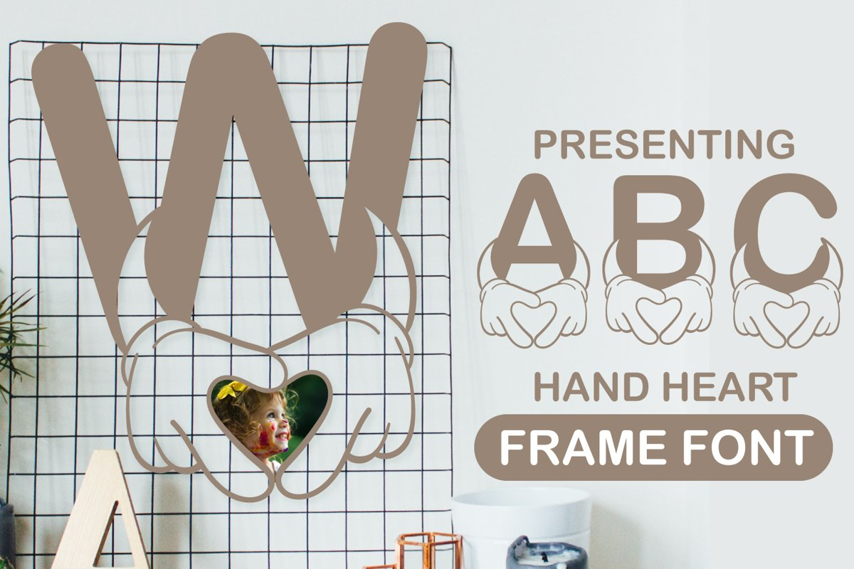 Alphabet Hand Love Frame Cute Paper cut Style Font example image 1