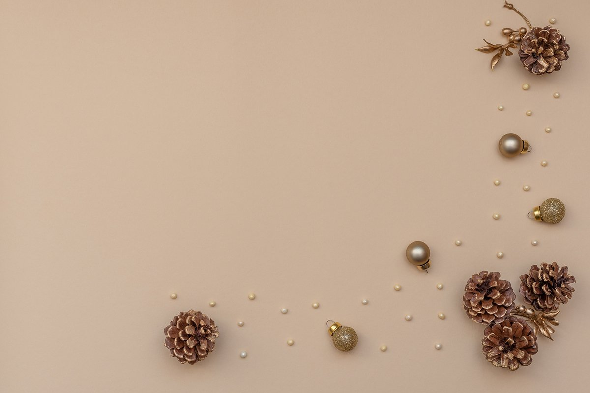 Fir cones, golden beads and Christmas decoration. example image 1