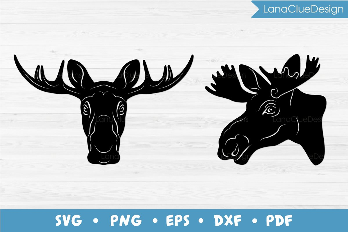 Moose Head SVG - 2 designs example image 1