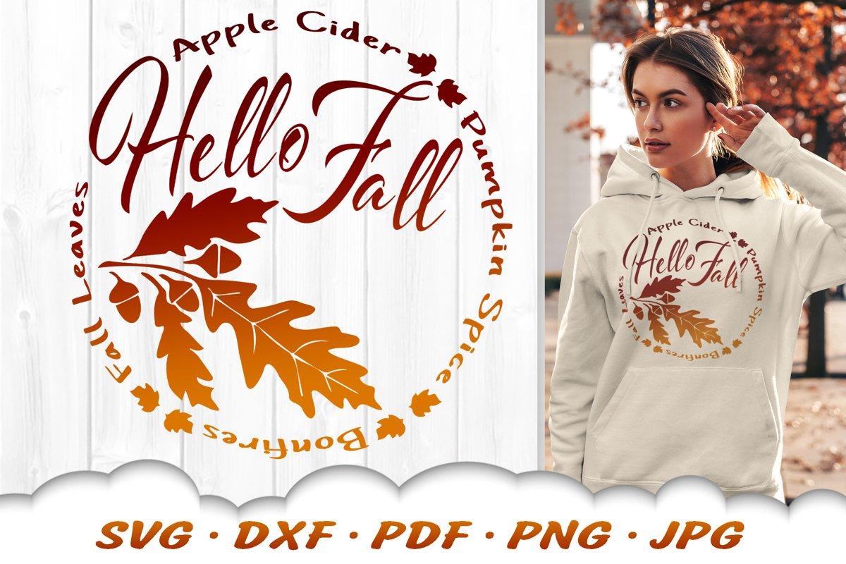 Acorn Autumn Wreath Hello Fall SVG DXF Cut Files example image 1