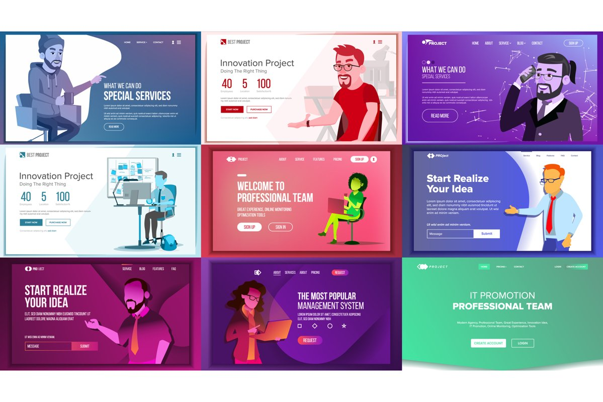 Main Web Page Set Design Vector. Website Business Graphic. example image 1