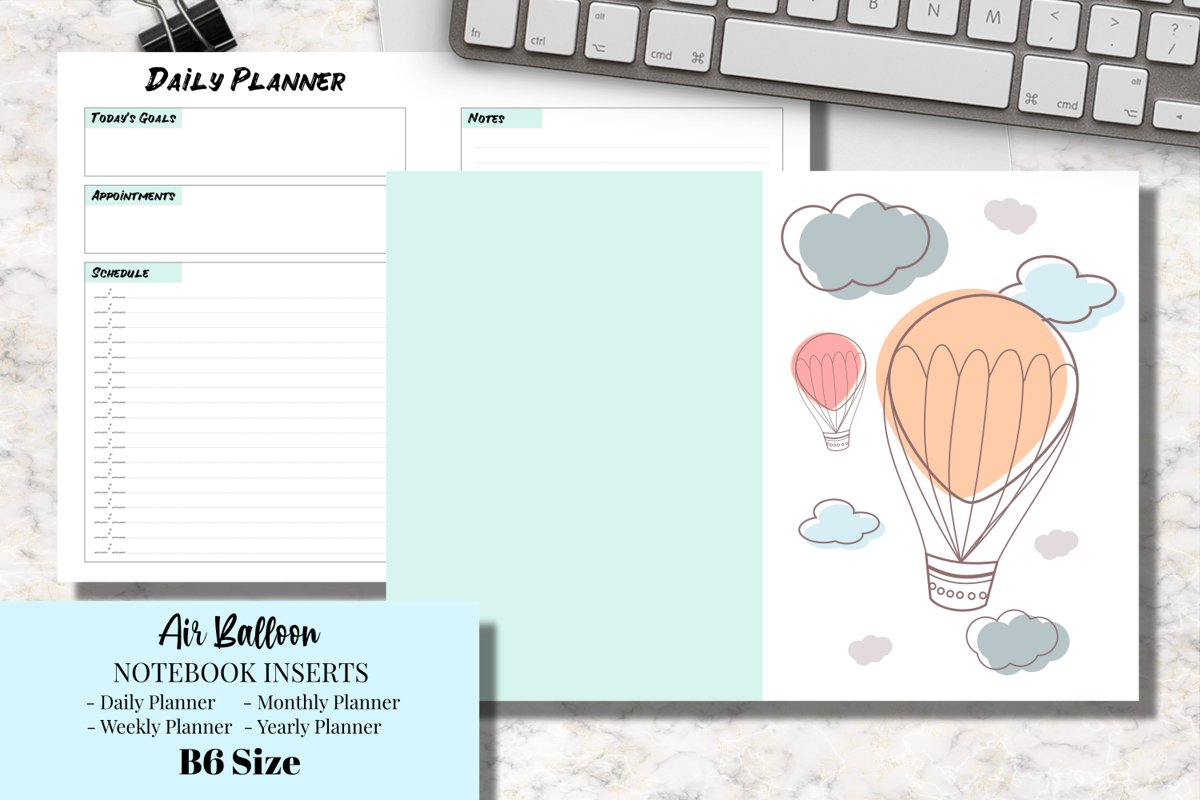 Air Balloon B6 Size Notebook Inserts Planner example image 1