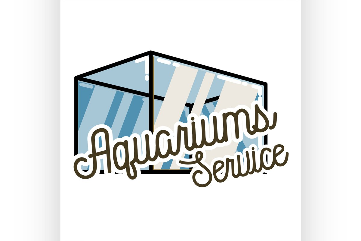 Color vintage aquariums service emblem example image 1
