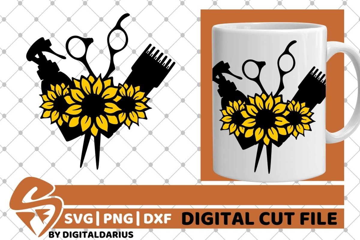 Hair Tools with sunflower svg, Hairstylist svg, Hairdresser example image 1