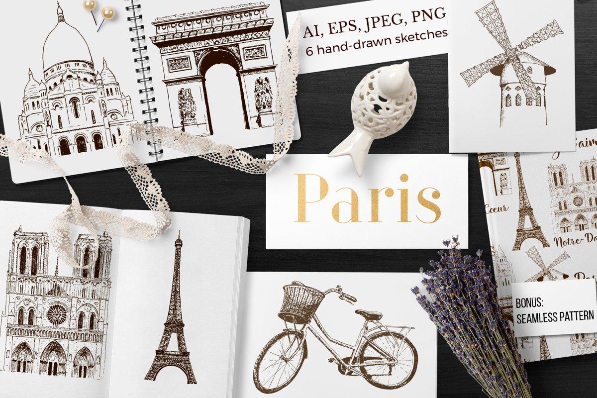 Set of Paris sketches example image 1