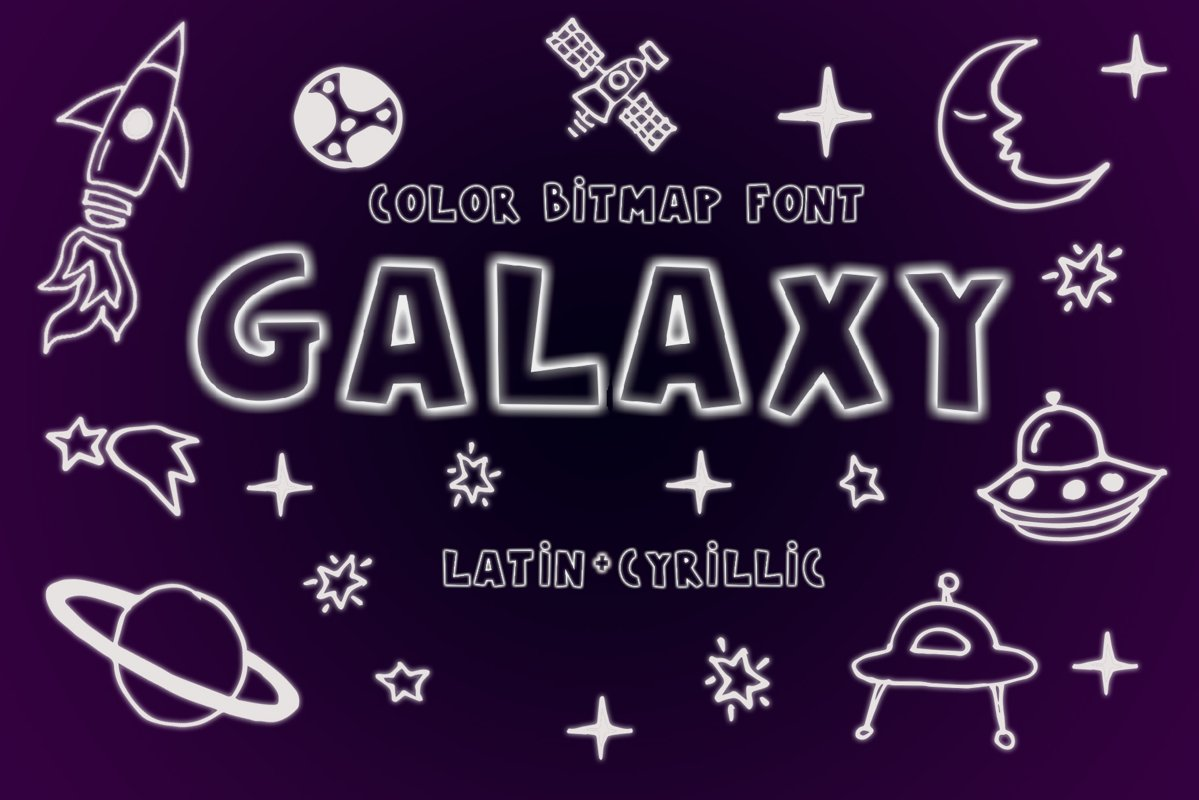 Galaxy Color Bitmap Font example image 1