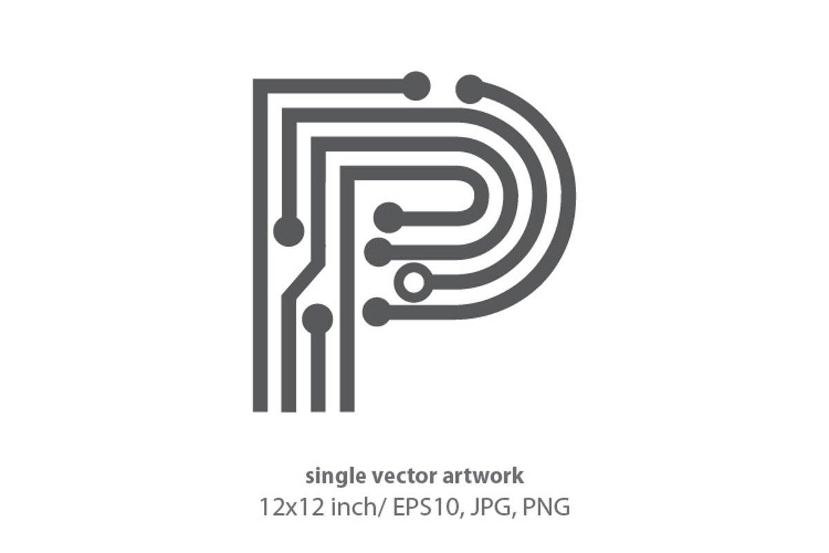 digital letter p - single vector artwork example image 1