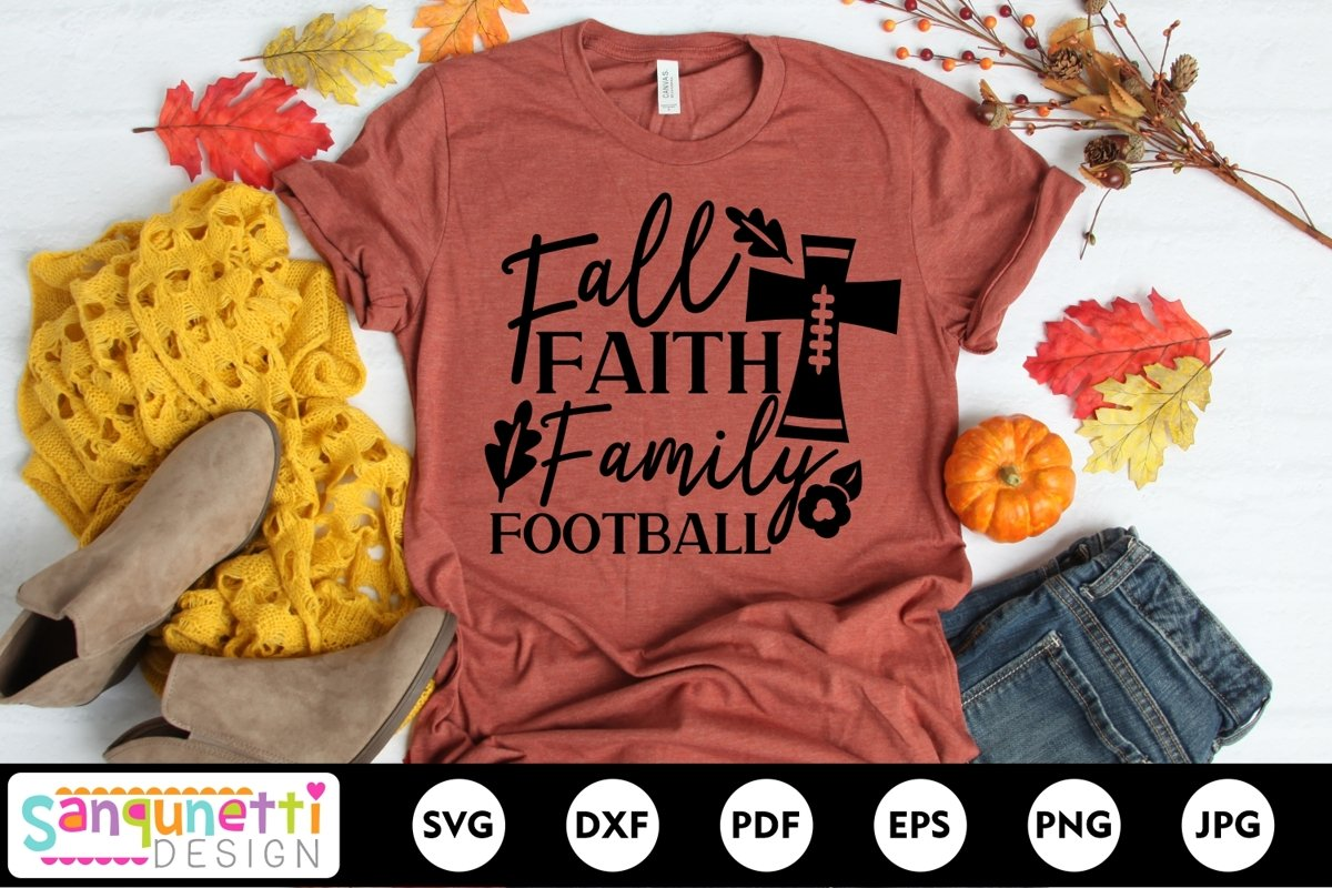 Fall Faith Family Football SVG, autumn cut file example image 1