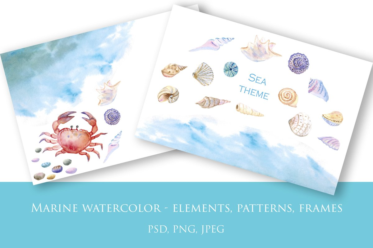Marine watercolor - elements, patterns, frames example image 1